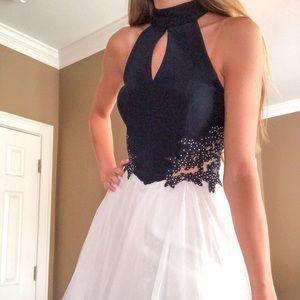 dark and white studded homecoming dress
